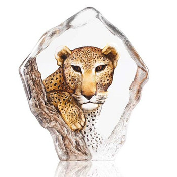 Ltd Ed. Leopard with Color Etched Crystal Sculpture by Mats Jonasson