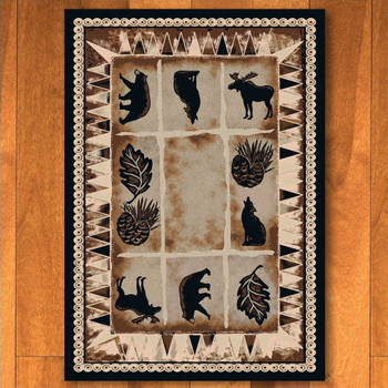 3' x 4' Northern Wildlife Brown Shades Rectangle Scatter Rug