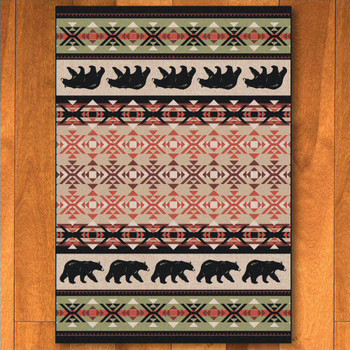 3' x 4' Cozy Bears Wildlife Rectangle Scatter Rug