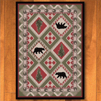 3' x 4' Quilted Forest Pine with Bears Wildlife Rectangle Scatter Rug