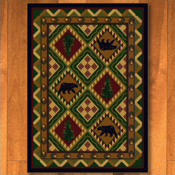 3' x 4' Quilted Forest Woodland w/Bears Wildlife Rectangle Scatter Rug