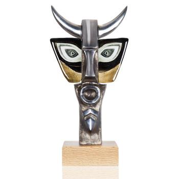 Ltd Ed Minotaurus Gold & Black Crystal/Iron Sculpture by Mats Jonasson