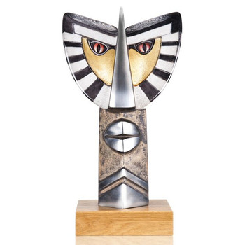 Ltd Ed Gold & Black Chief I Crystal & Iron Sculpture by Mats Jonasson