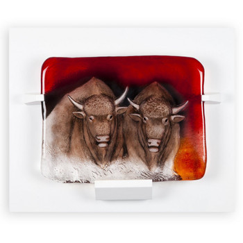 Ltd Power Bison Red Brown & Clear Crystal Sculpture by Mats Jonasson