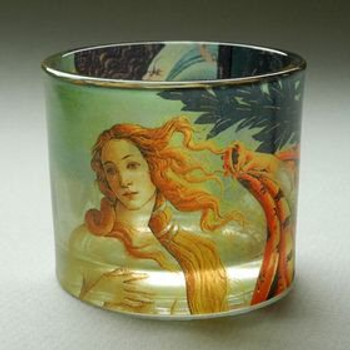 Birth of Venus Glass Tea Light Candle Holders by Botticelli, Set of 2
