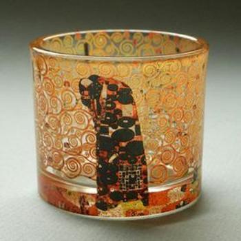 Fulfillment Glass Tea Light Candle Holders by Gustav Klimt, Set of 2