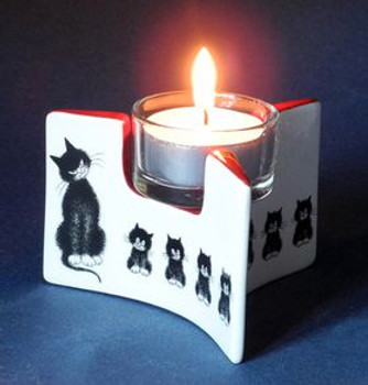 Cats in a Row l 'Alignment Ceramic Tea Light Candle Holder by Dubout