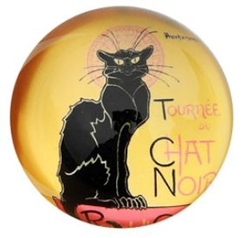 Le Chat Noir Cat Glass Paperweight by Steinlen