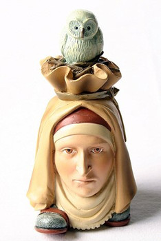 Head-Footer with Owl Bird Statue by Hieronymus Bosch