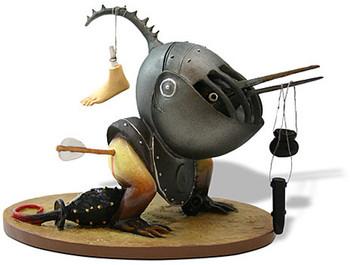 Helmeted Bird Monster Statue by Hieronymus Bosch