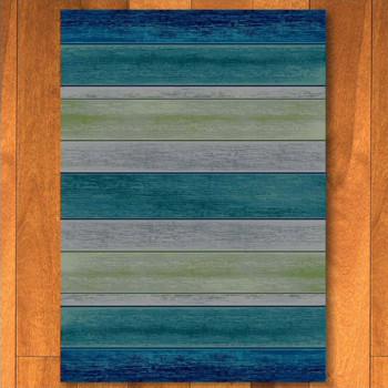 4' x 5' Bungalow Stripe Aqua Rectangle Rug