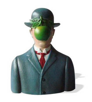 Son of Man Wearing Bowler Hat Statue by Rene Magritte