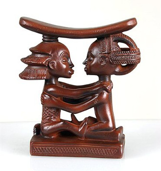 Luba Couple African Headrest Statue