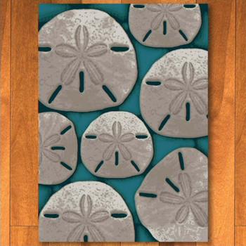 4' x 5' Ocean Treasure Aqua Rectangle Rug