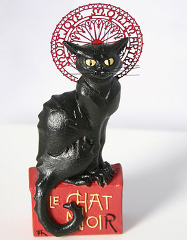 Miniature Le Chat Noir Black Cat Statue by Steinlen