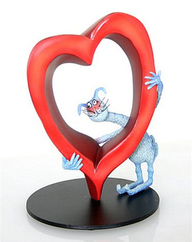 Missing You Lots Cat and Heart Statue by Tony Fernandes