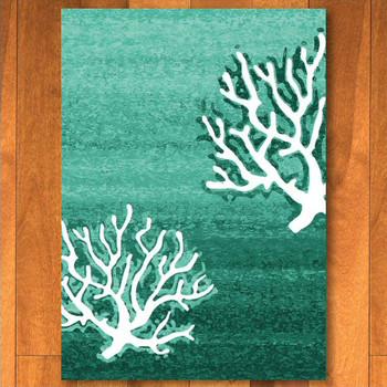 4' x 5' Coral Pattern Aqua Rectangle Rug