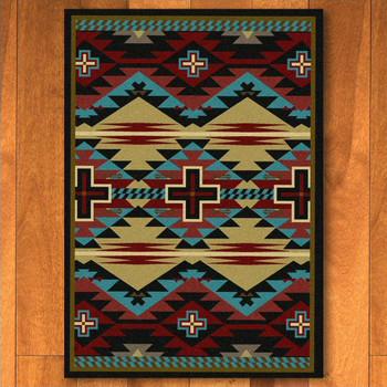 4' x 5' Rustic Cross Blue Southwest Rectangle Rug