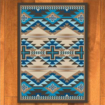 4' x 5' Rustic Cross Indigo Turquoise Southwest Rectangle Rug
