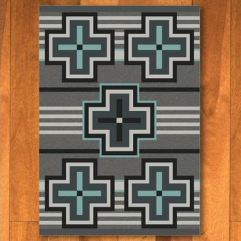 4' x 5' Bounty Turquoise Southwest Rectangle Rug