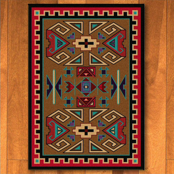 4' x 5' Four Rams Bright Southwest Rectangle Rug