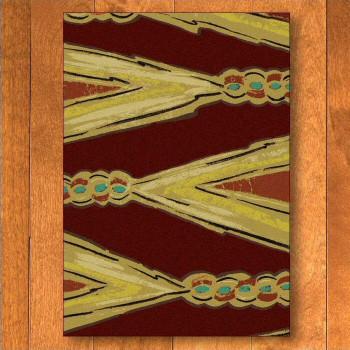 4' x 5' Finger Weave Red Cherokee Inspired Rectangle Rug