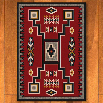 4' x 5' Old Crow Red Southwest Rectangle Rug