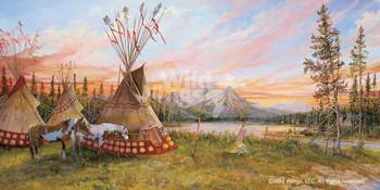 Evening Fire Indian Village Artist Proof Art Print Wall Art