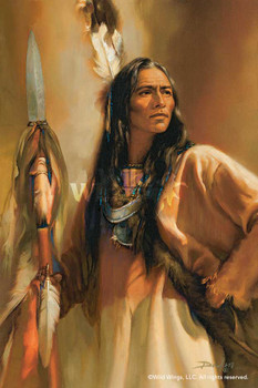 Redhawk Native American Portrait Art Print Wall Art
