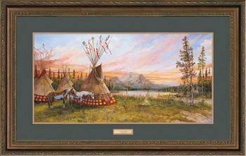 Evening Fire Indian Village Framed Art Print Wall Art
