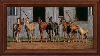 Little Partners Foals Horses Framed Canvas Giclee Art Print Wall Art