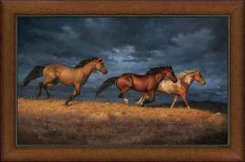 Thunder Ridge Horses Framed Canvas Giclee Art Print Wall Art