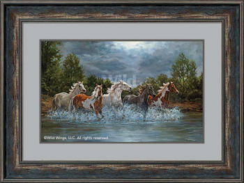 Storm Crossing Wild Horses Framed Art Print Wall Art