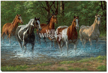 Summer Creek Horses Wrapped Canvas Giclee Print Wall Art