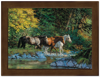 Small Bear Creek Crossing Horses Framed Canvas Art Print Wall Art