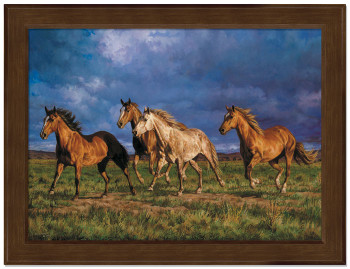 Small Racing the Sun Horses Framed Canvas Art Print Wall Art