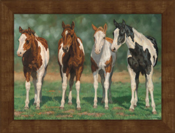 Large Pint Sized Paints Horses Framed Canvas Art Print Wall Art