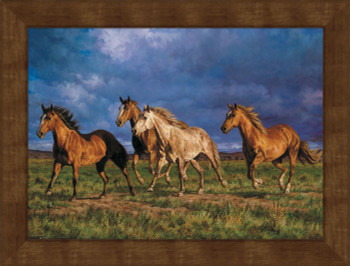 Large Racing the Sun Horses Framed Canvas Art Print Wall Art