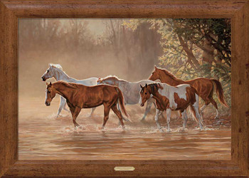 Misty River Horses Framed Canvas Art Print Wall Art