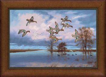 Small Arkansas Reverie Flying Ducks Framed Canvas Giclee Art Print