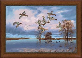 Large Arkansas Reverie Flying Ducks Framed Canvas Giclee Art Print