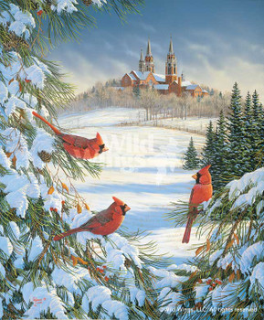 Cardinal Birds at Holy Hill Canvas Giclee Art Print Wall Art