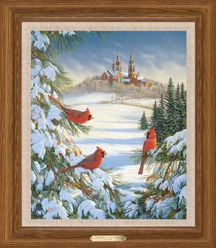 Cardinal Birds at Holy Hill Framed Canvas Giclee Art Print Wall Art
