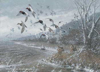 Armistice Day Hunt Flying Ducks Art Print Wall Art