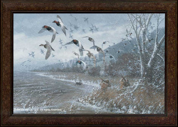 Armistice Day Hunt Flying Ducks Framed Canvas Giclee Wall Art Print