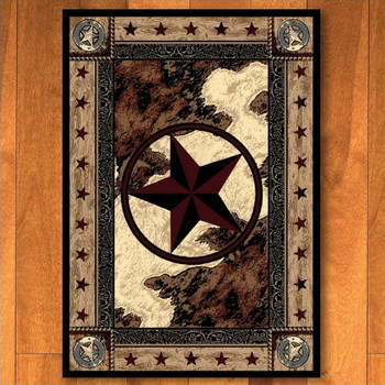 4' x 5' Ranger Hideout Western Star Rectangle Rug