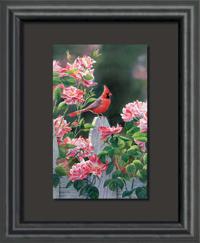 Garden Gateway Cardinal Bird Float Mount Framed Art Print Wall Art