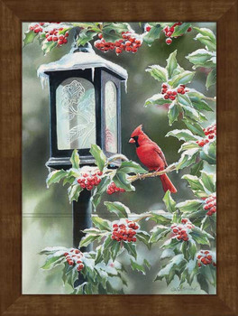 Large Winter Cardinal Bird Framed Canvas Art Print Wall Art