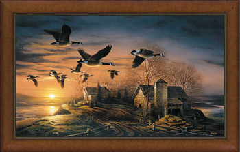Sundown Canada Geese Rustic Framed Canvas Giclee Art Print Wall Art