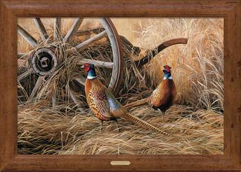 Autumn Glow Pheasant Birds Framed Canvas Art Print Wall Art